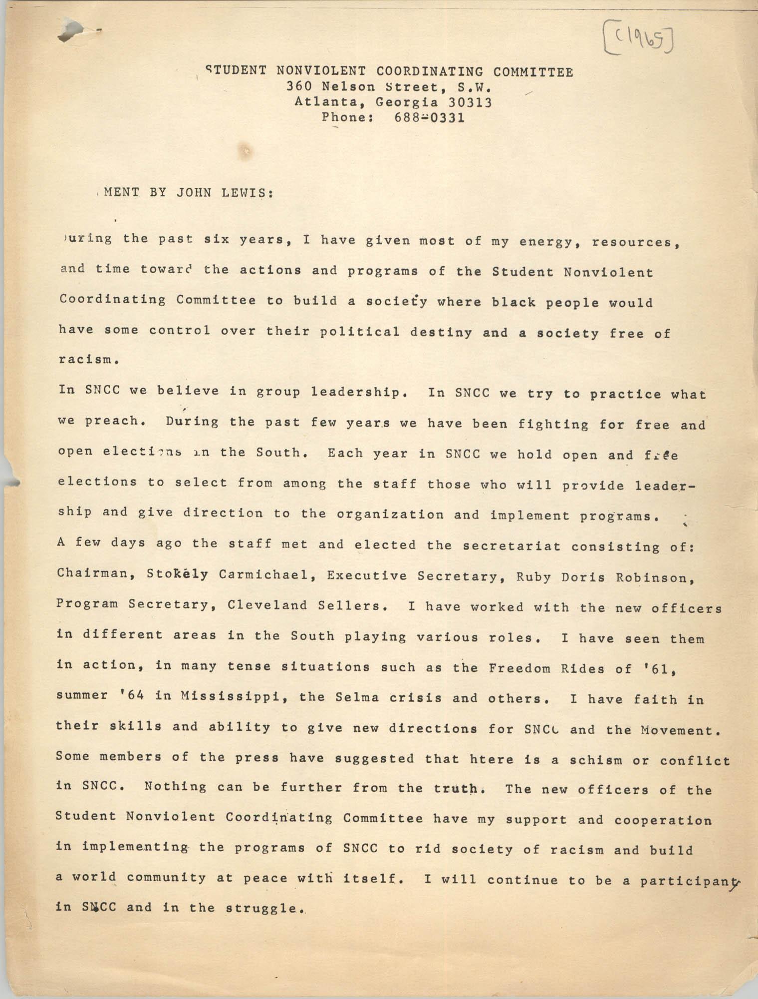 Statement by John Lewis, 1965