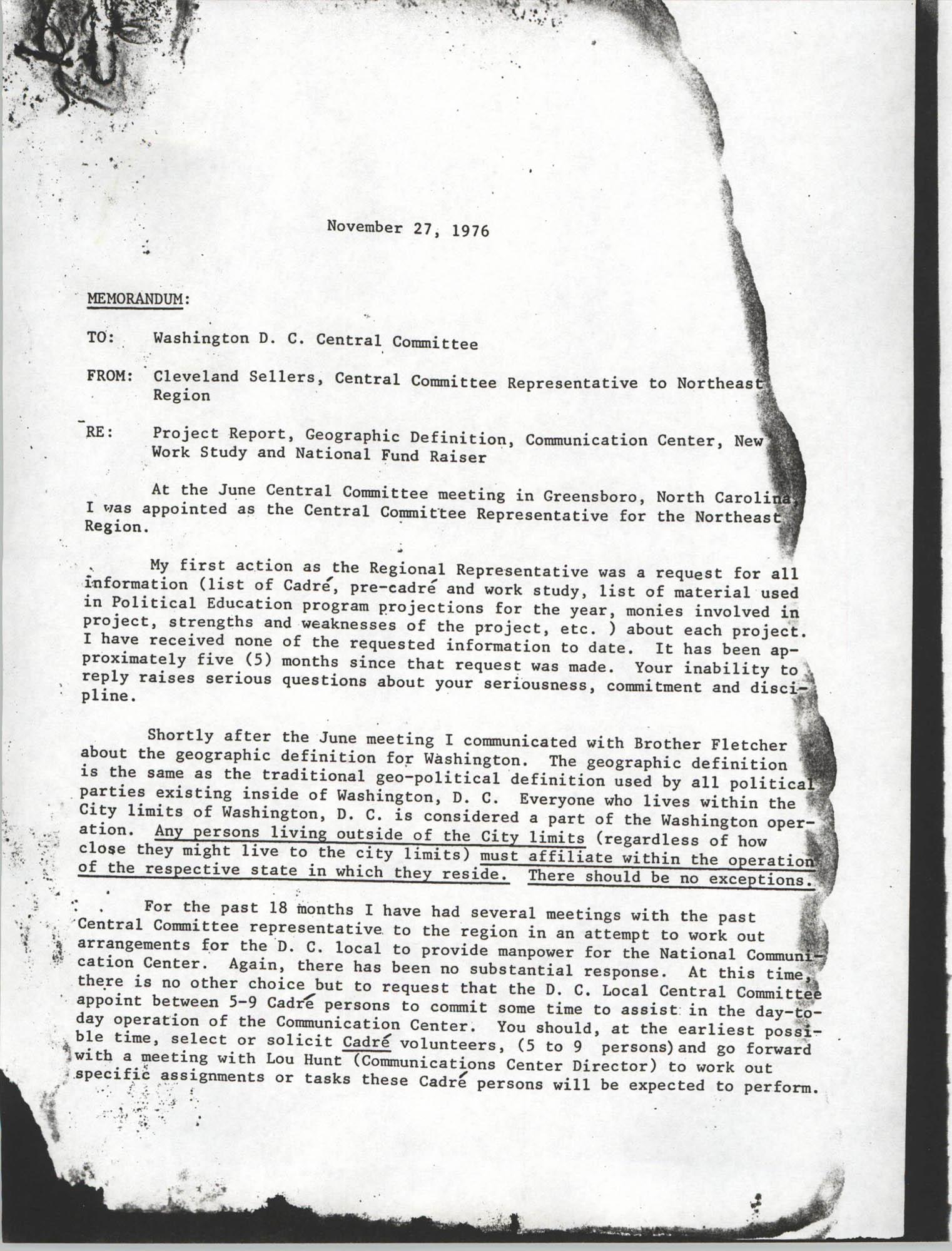 Memorandum from Cleveland Sellers, November 27, 1976