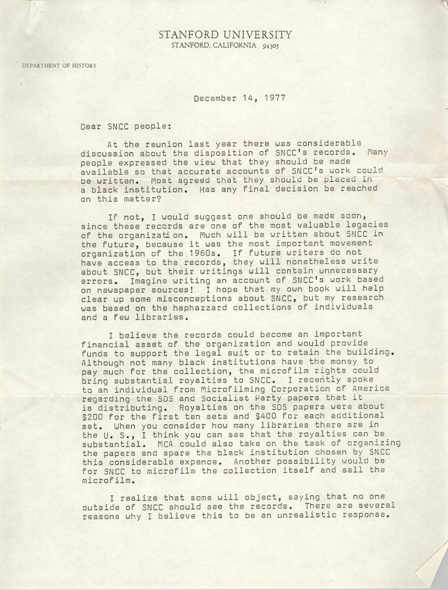 Letter from Clay Carson to Student Nonviolent Coordinating Committee, December 14, 1977
