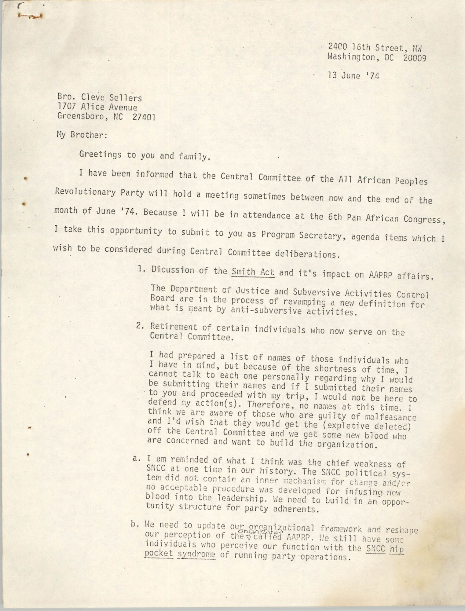 Letter from Jan Bailey to Cleveland Sellers, June 13, 1974