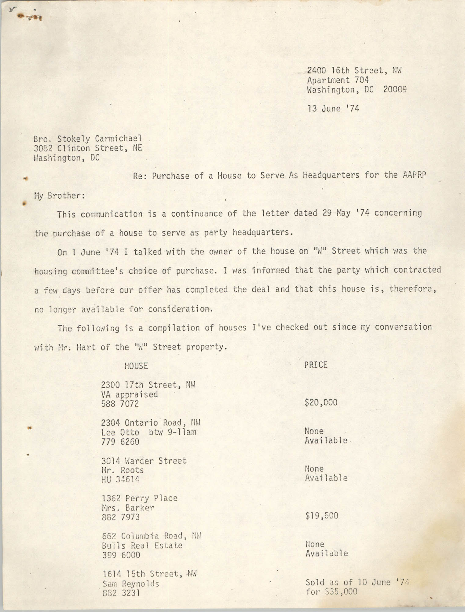 Letter from Jan Bailey to Stokely Carmichael, June 13, 1974