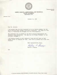 Letter from Kelvin L. Buncum to Cleveland Sellers, October 18, 1978