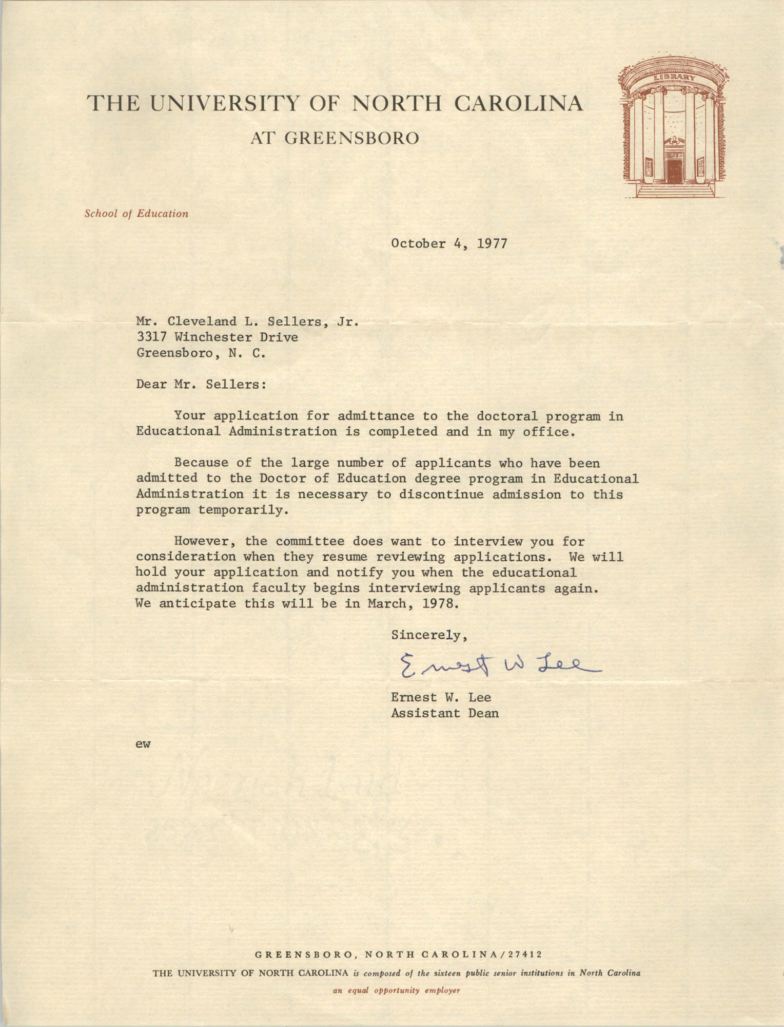Letter from Ernest W. Lee to Cleveland Sellers, October 4, 1977