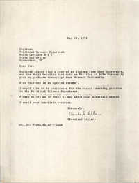 Letter from Cleveland Sellers, May 19, 1978