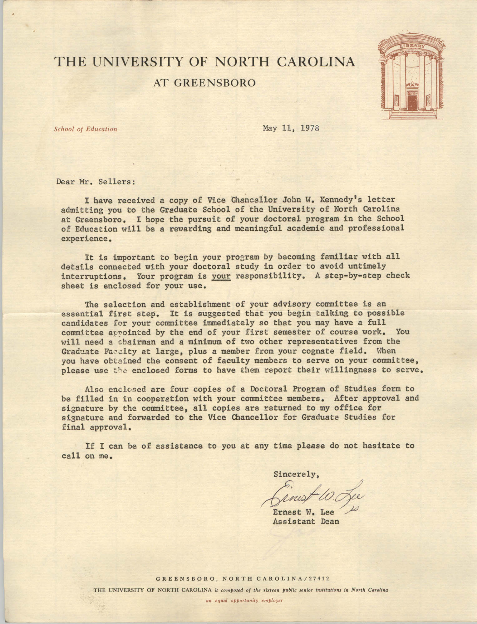 Letter from Ernest W. Lee to Cleveland Sellers, May 11, 1978