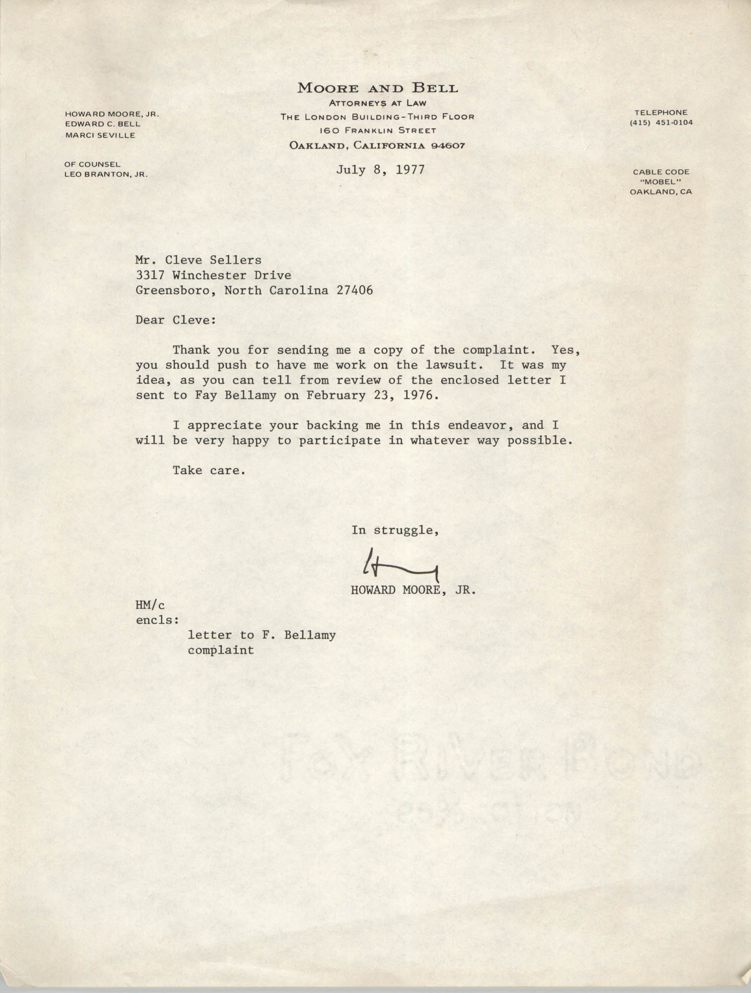 Letter from Howard Moore, Jr. to Cleveland Sellers, July 8, 1977