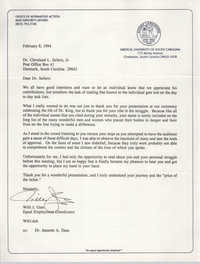 Letter from Willi J. Glee to Cleveland Sellers, February 8, 1994