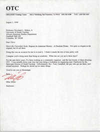 Letter from Mike Miller to Cleveland Sellers, August 1, 1994