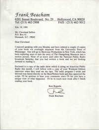 Frank Beacham to Cleveland Sellers, February 19, 1991