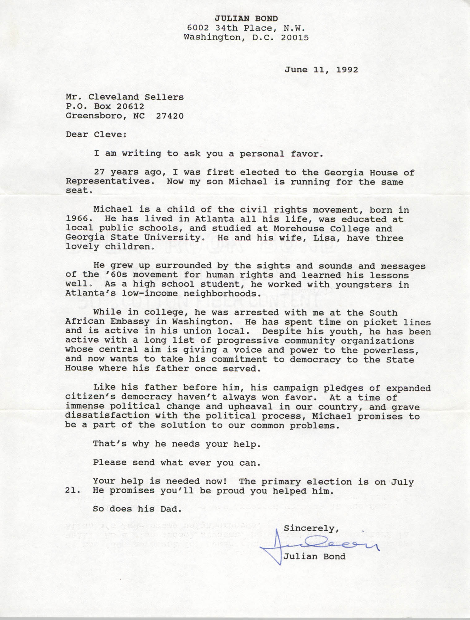Letter from Julian Bond to Cleveland Sellers, June 11, 1992