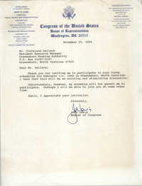 Letter from John Lewis to Cleveland Sellers, November 29, 1989