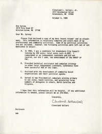 Letter from Cleveland Sellers to Ron Spivey, October 3, 1989
