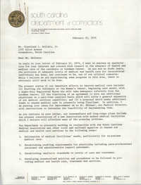Letter from William Leeke to Cleveland Sellers, February 22, 1974