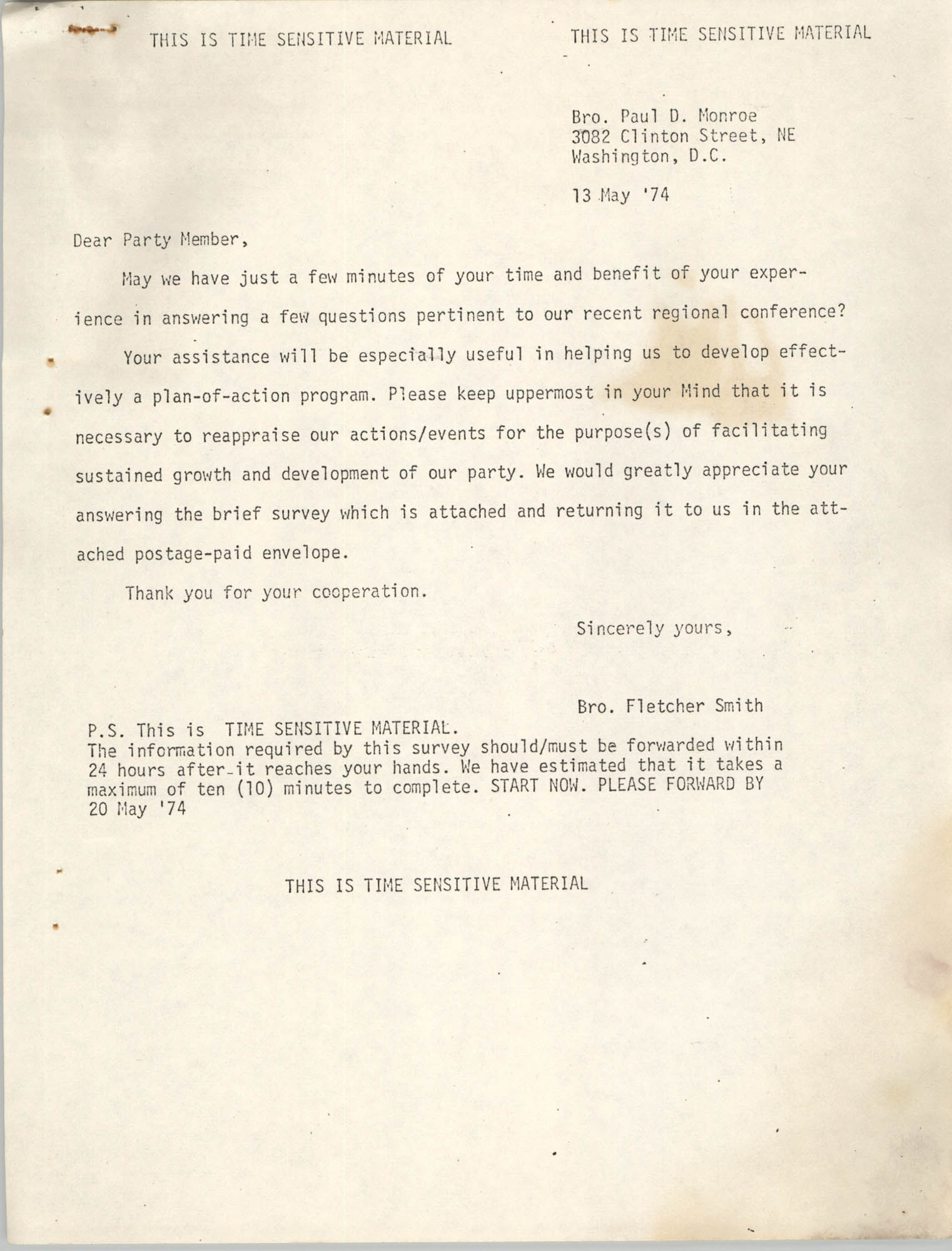 Letter from Fletcher Smith to Paul D. Monroe, May 13, 1974