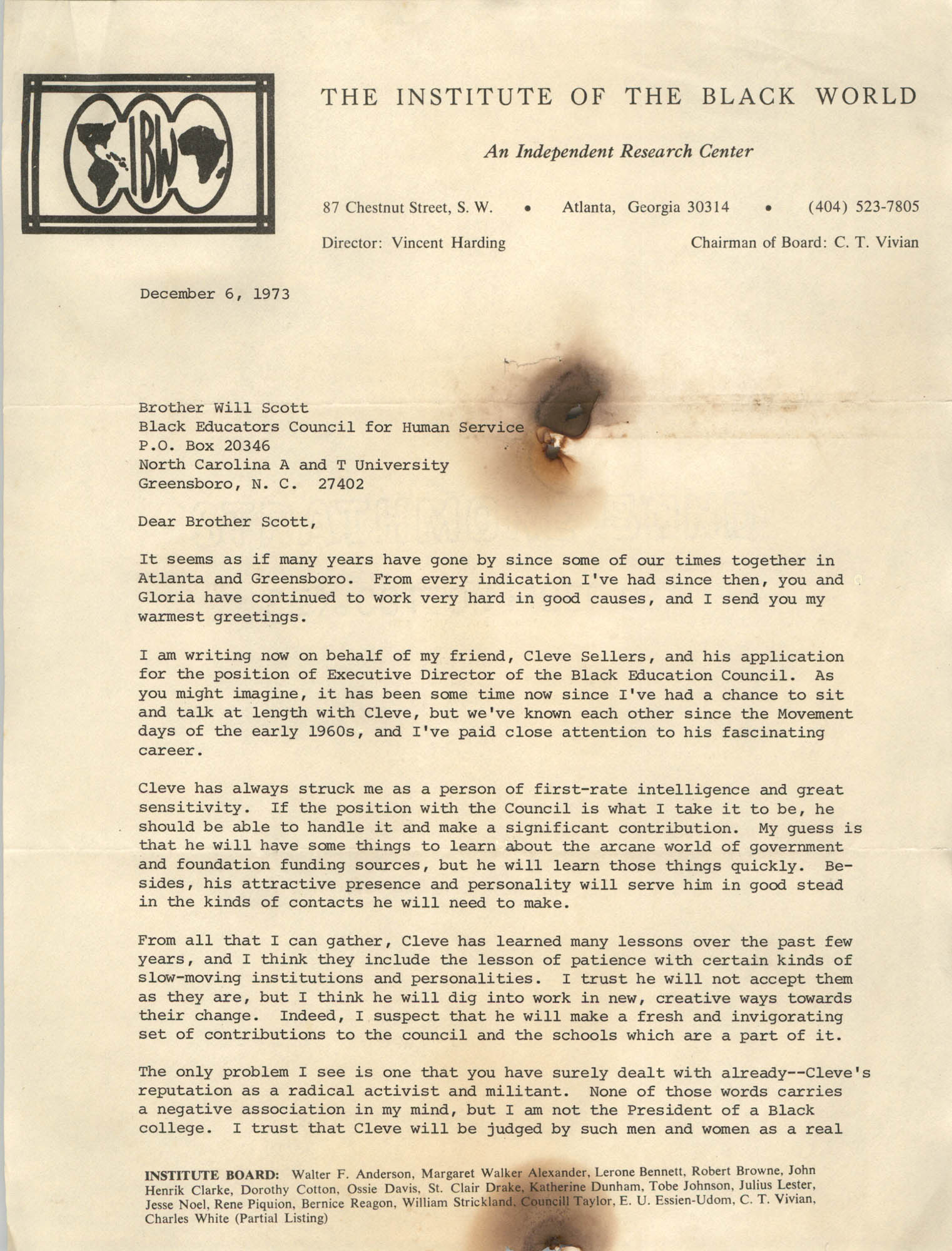 Letter from Vincent Harding to Will Scott, December 6, 1973