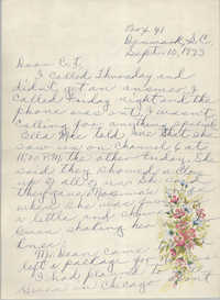 Letter from Pauline Taggert Sellers to Cleveland Sellers, September 10, 1973