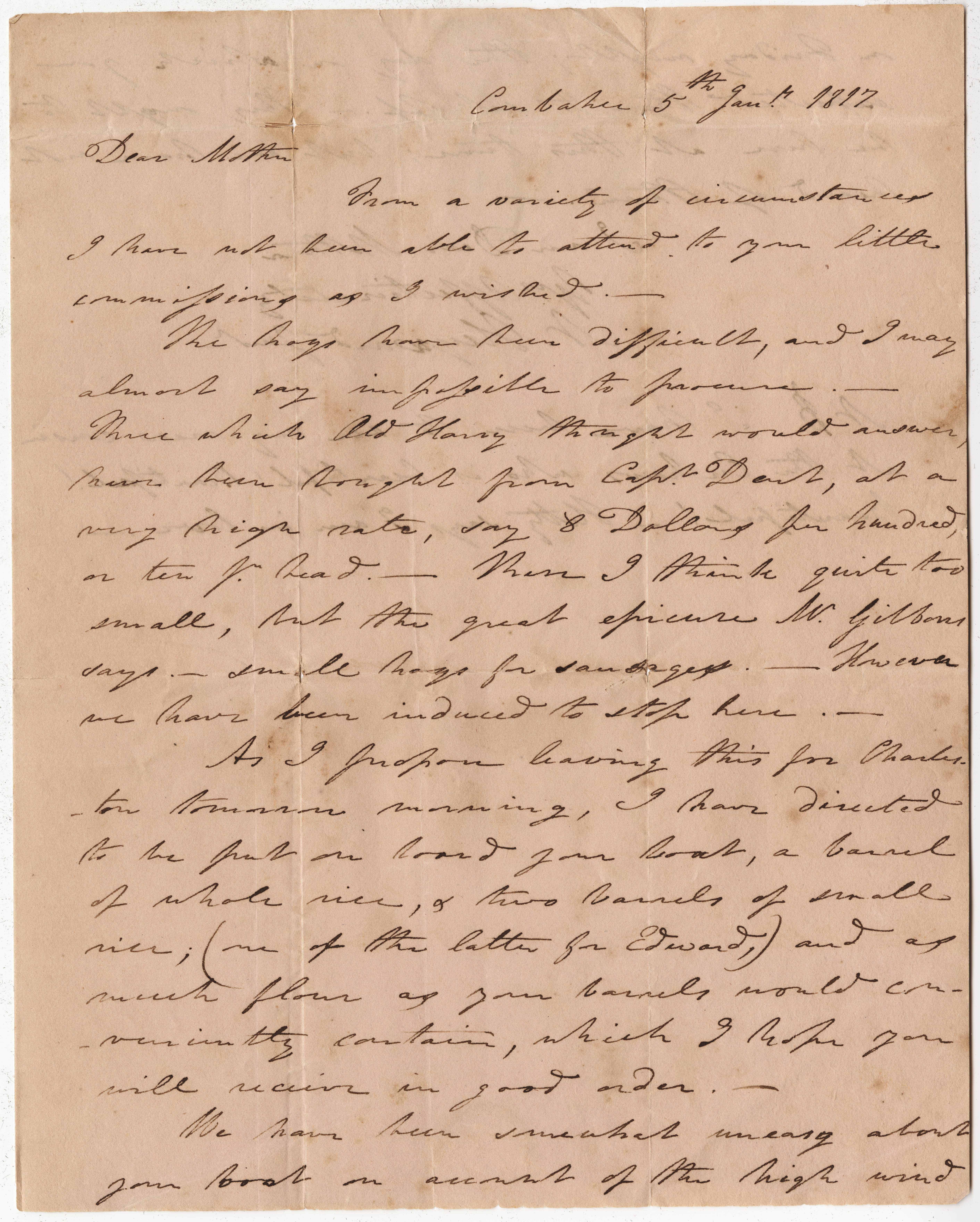 017. Nathaniel Heyward (II) to Mother-in-Law -- January 5, 1817