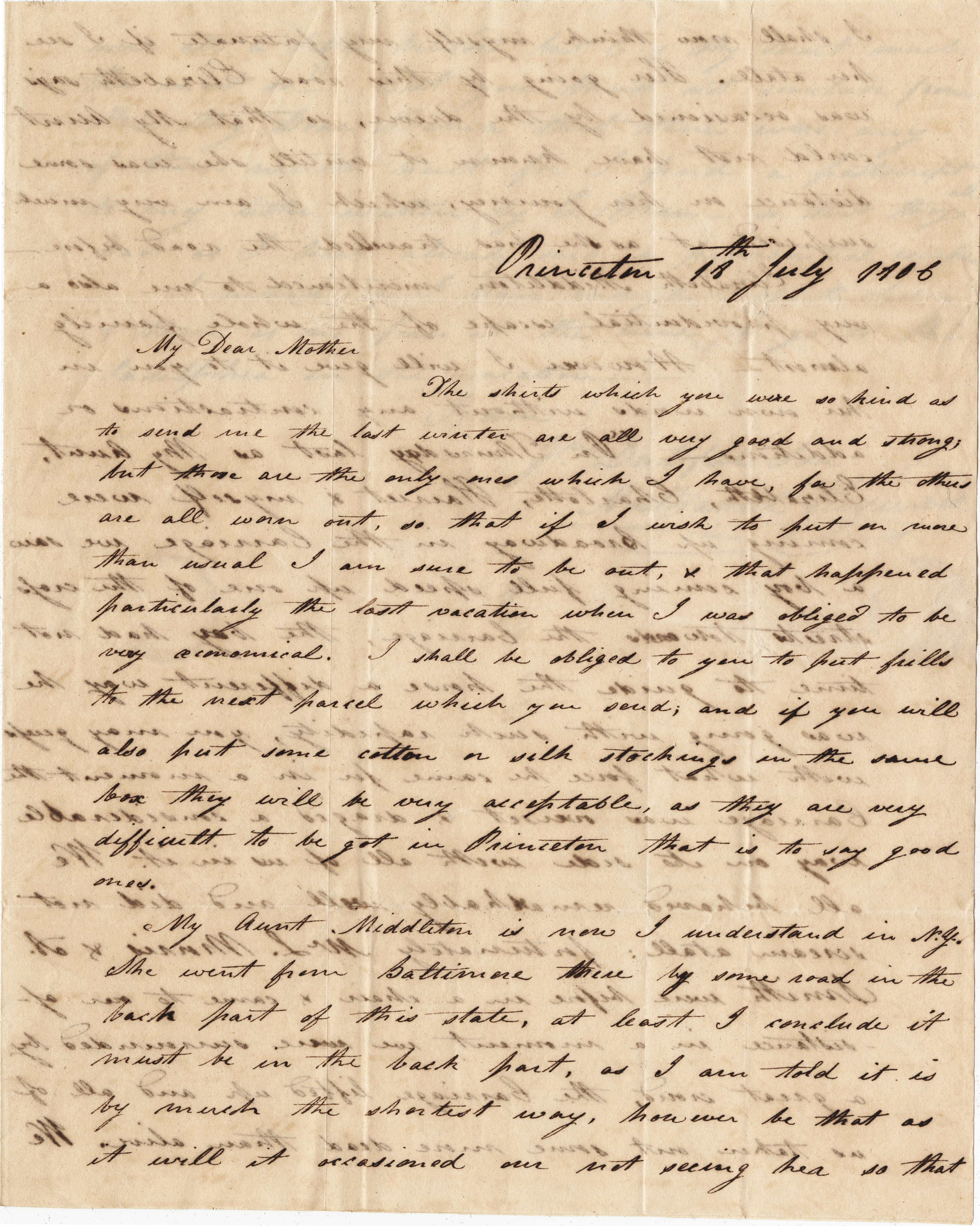 001. Nathaniel Heyward (II) to Mother -- July 18, 1806