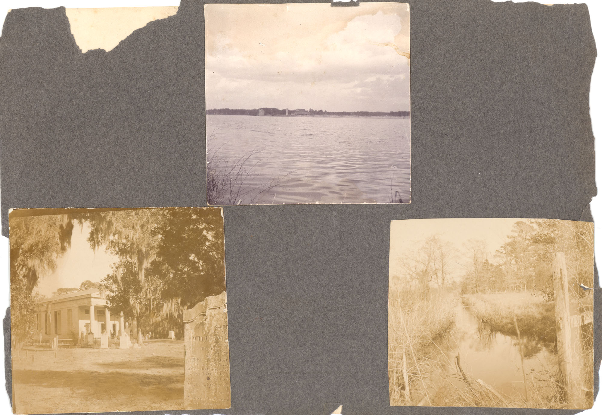 Charleston, Georgetown, and Flat Rock, Page 4 (front): River Scene / All Saints Episcopal Church / Rice Canal