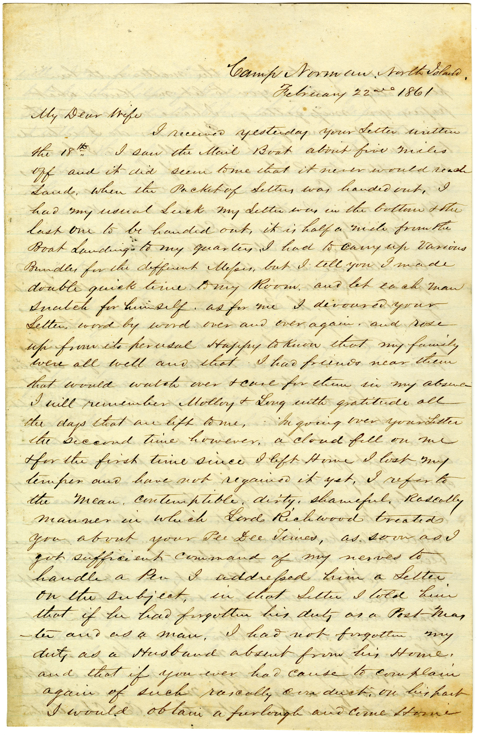 Letter from John R. Beaty to his wife Melvina, February 22, 1861