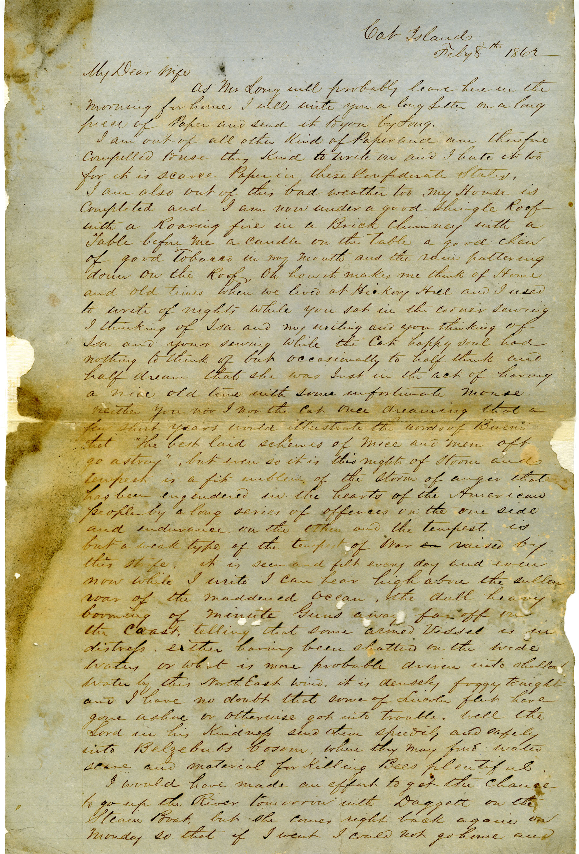 Letter from John R. Beaty to his wife Melvina, February 8, 1862
