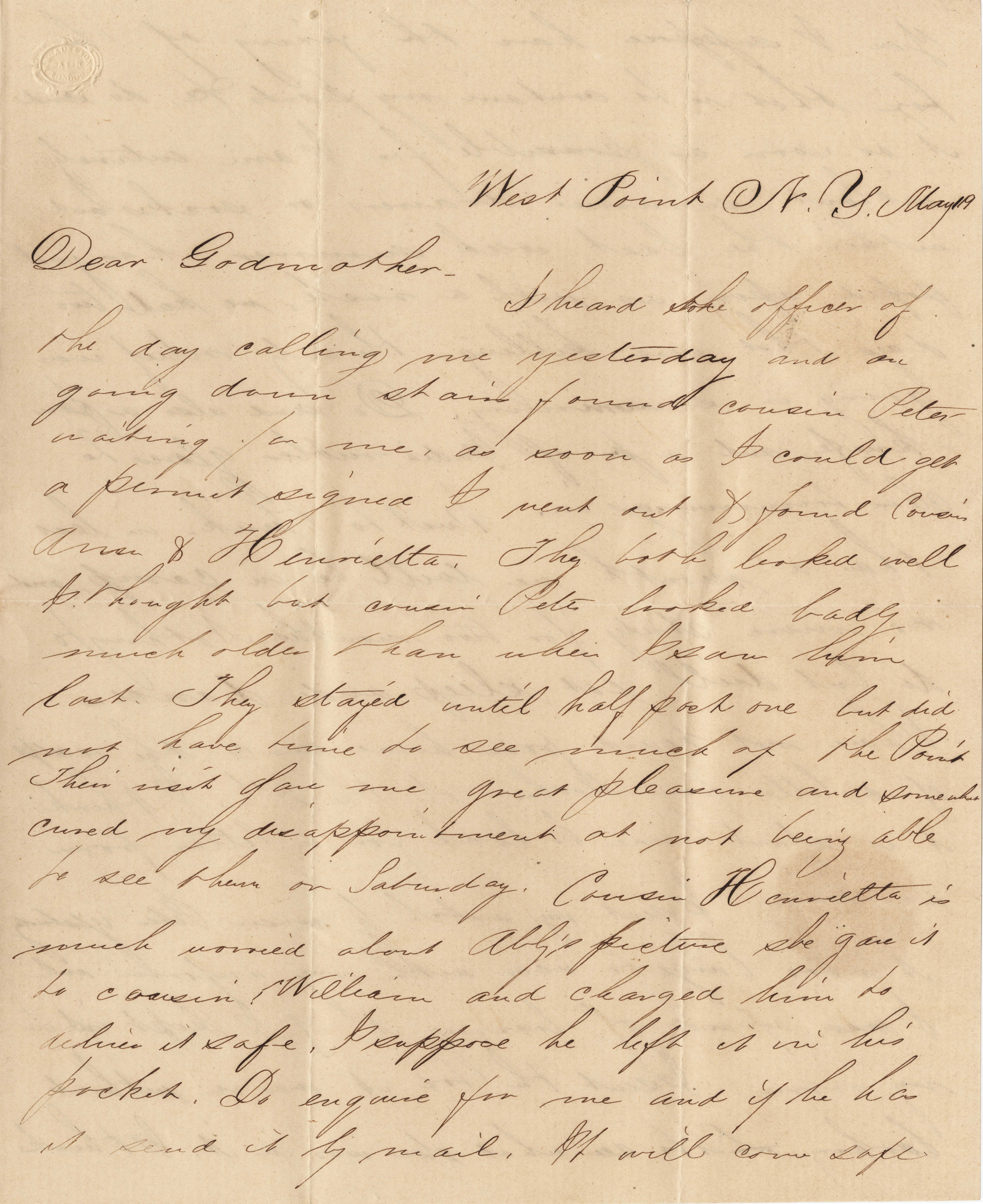 086. Samuel Wragg Ferguson to F.R. Barker (Godmother) -- May 19th (ca. 1855)