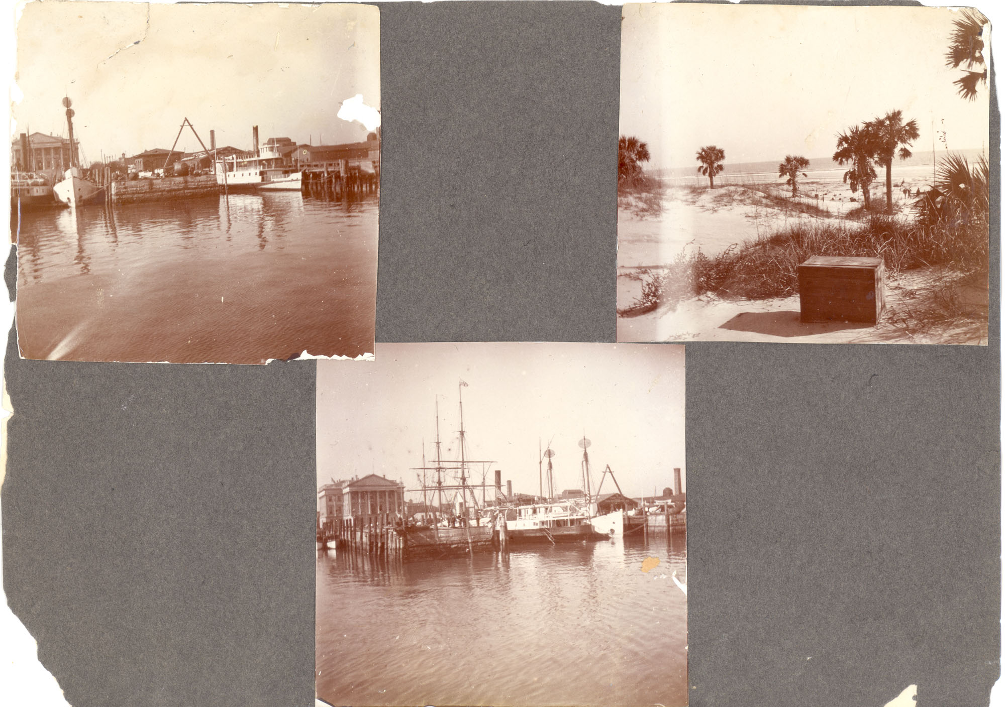Charleston, Georgetown, and Flat Rock, Page 2 (front): Charleston Harbor / Beach Scene