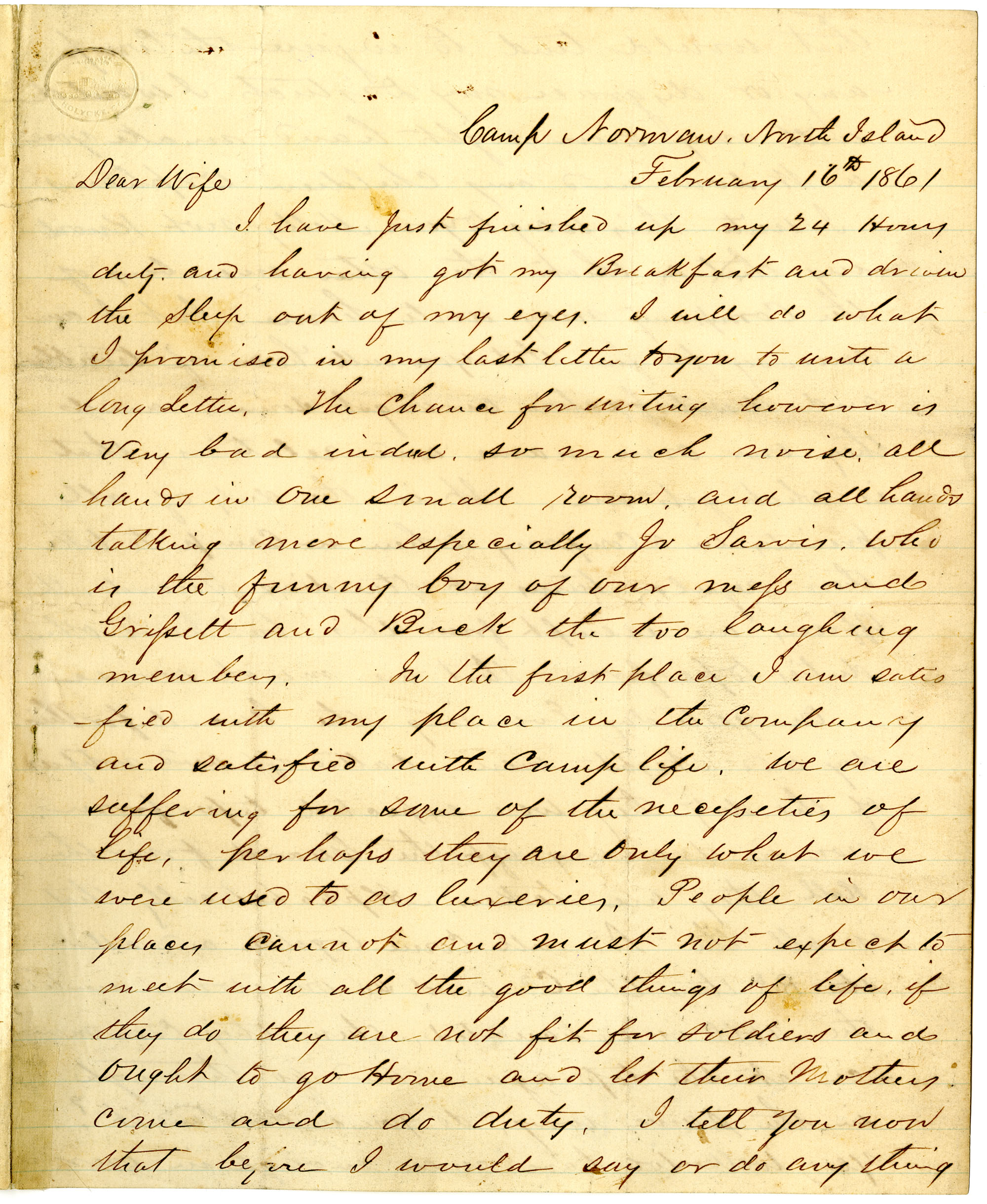 Letter from John R. Beaty to his wife Melvina, February 16, 1861