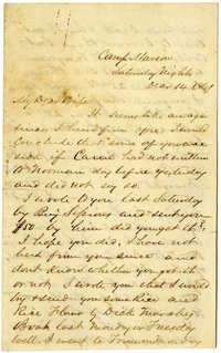 Letter from John R. Beaty to his wife Melvina, December 14, 1861