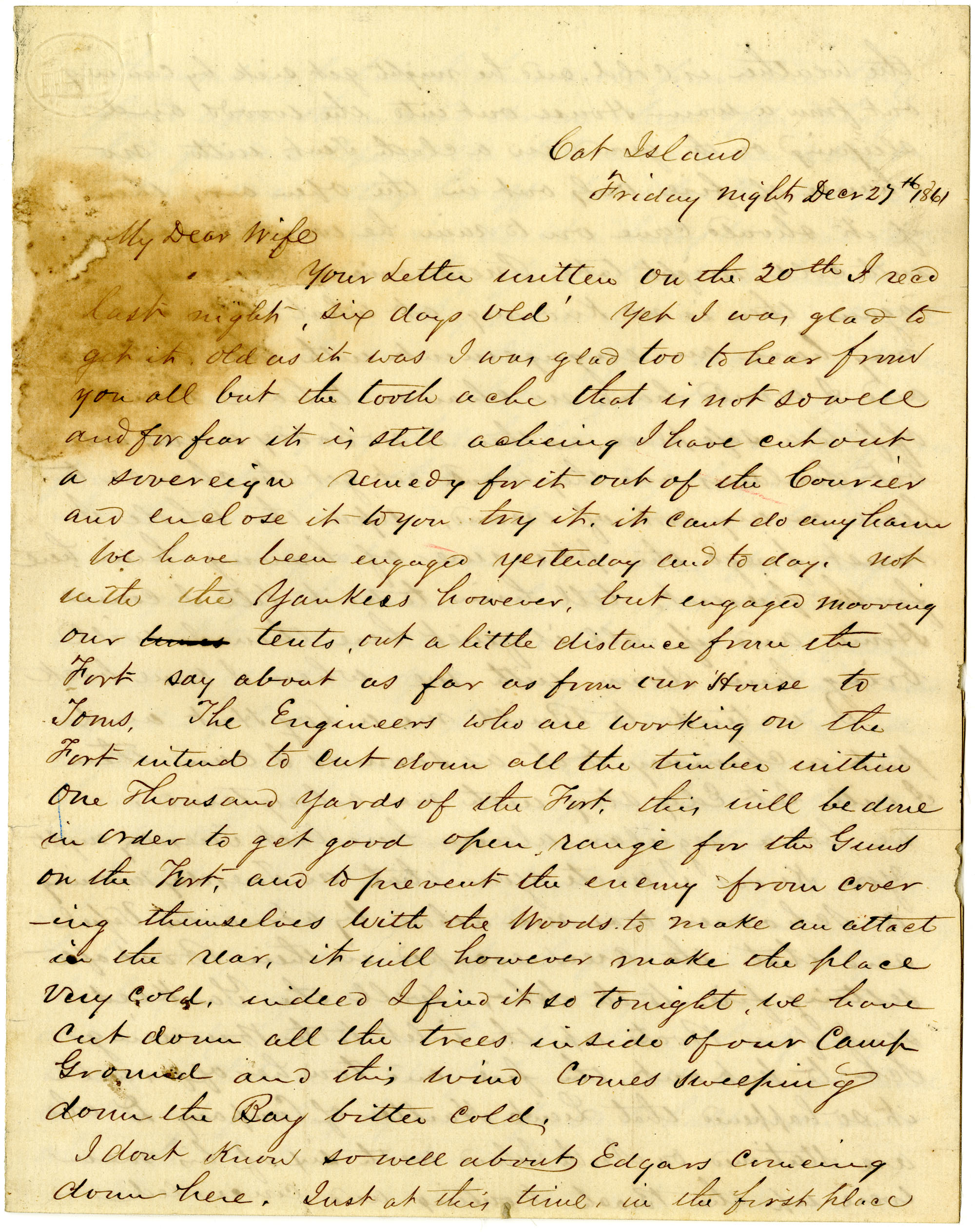 Letter from John R. Beaty to his wife Melvina, December 27, 1861