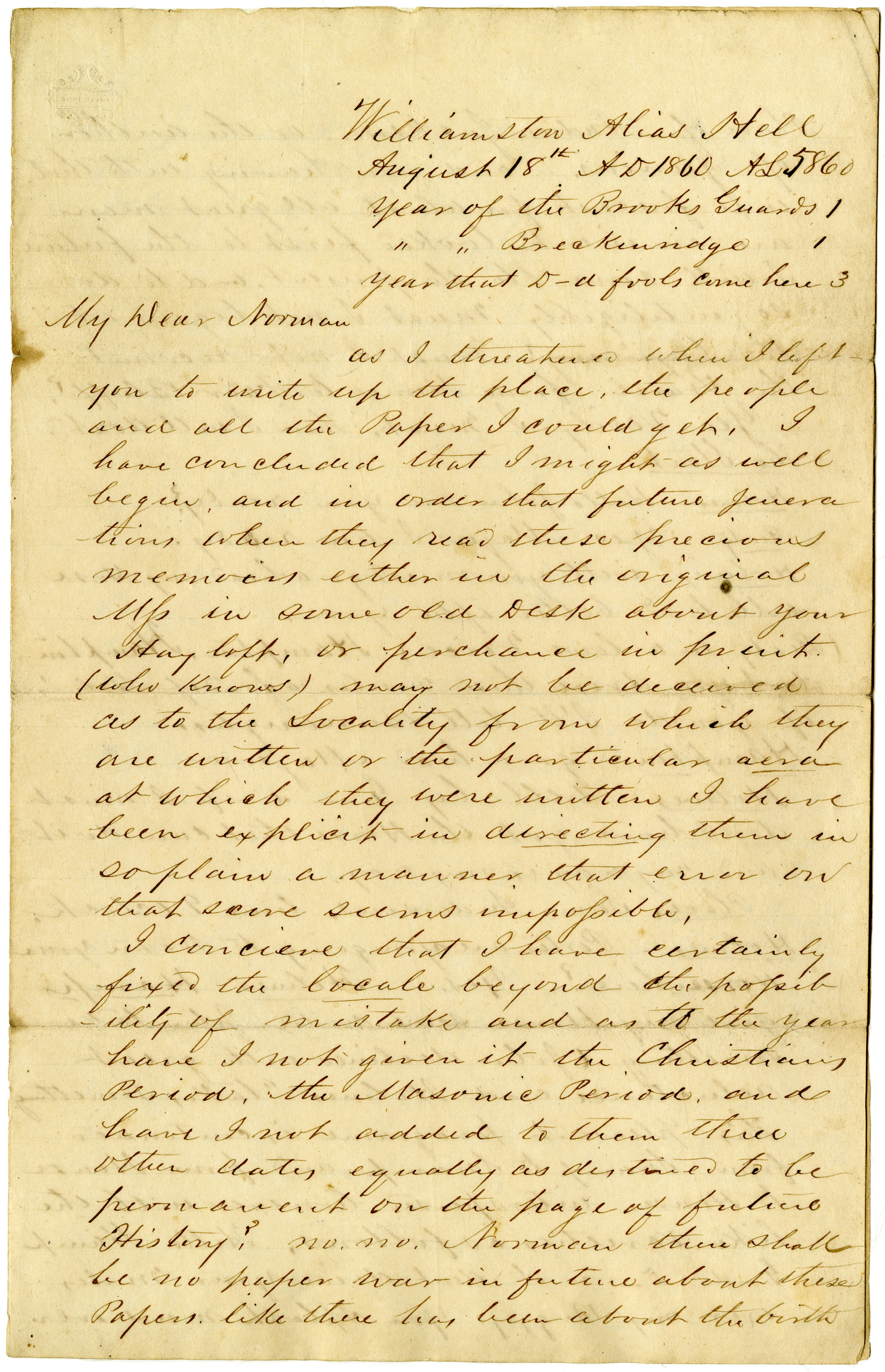 Letter from John R. Beaty to James H. Norman, Part I, August 1860