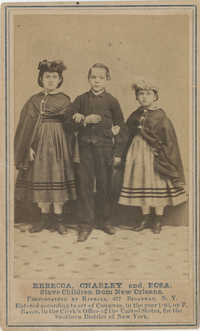 Rebecca, Charley and Rosa. Slave Children From New Orleans