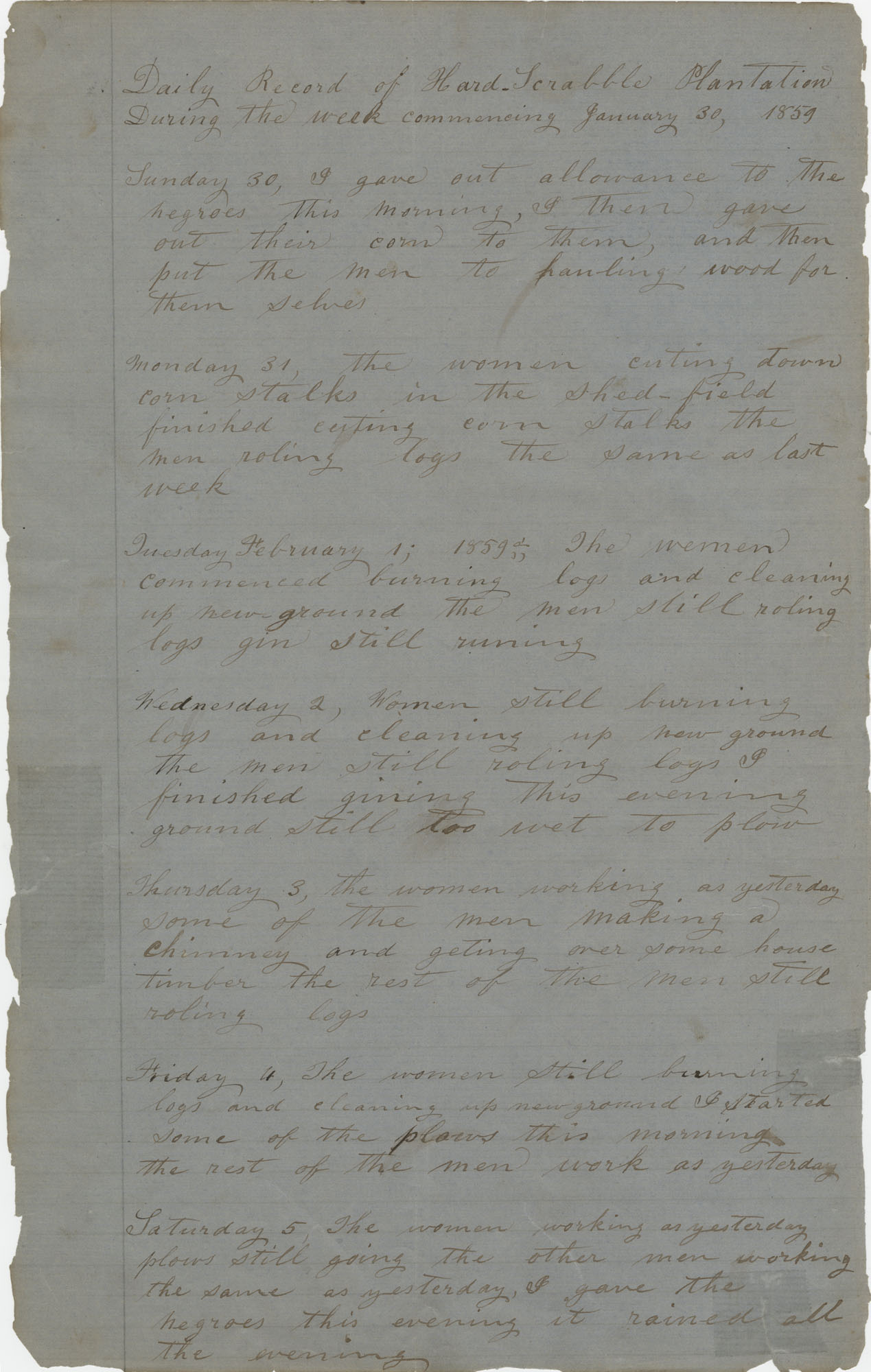 Daily Record of the Hardscrabble Plantation, January 30, 1859