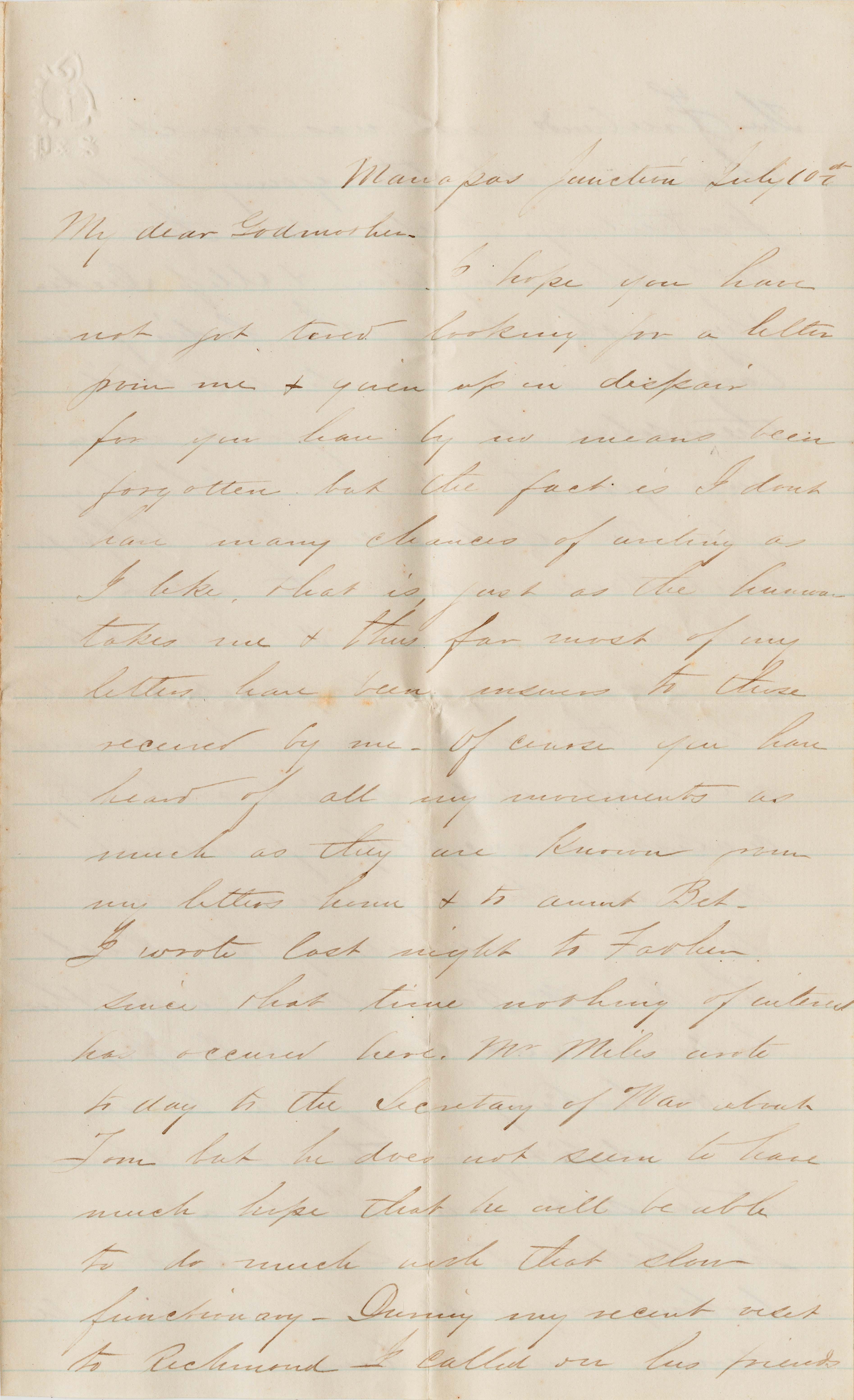 095. Samuel Wragg Ferguson to F.R. Barker (Godmother) -- July 10, 1861