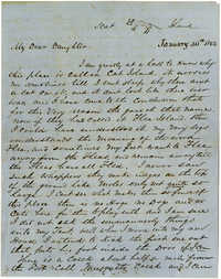 Letter from John R. Beaty to his dauther Isabella, January 1862