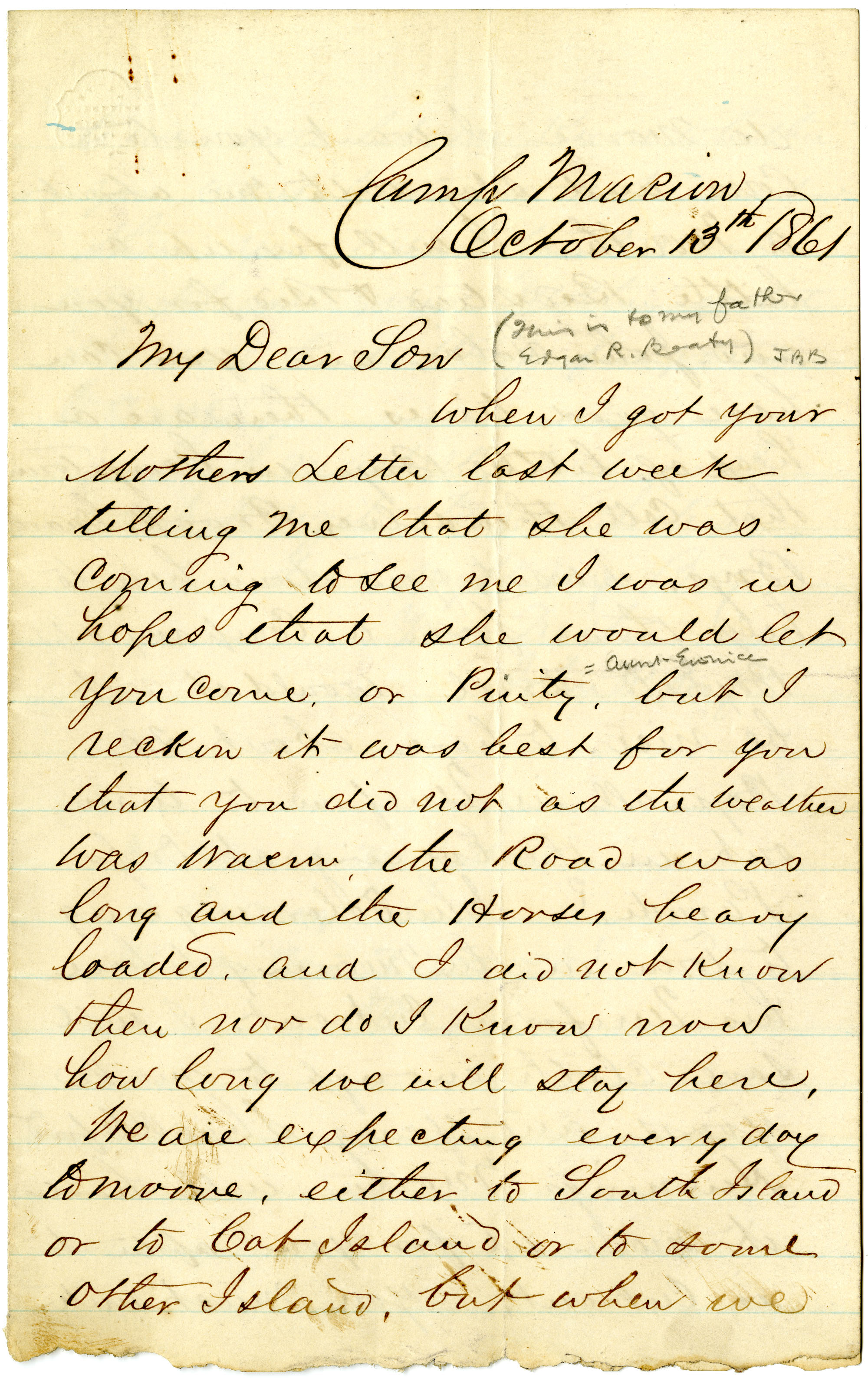 Letter from John R. Beaty to his son Edgar, October 1861