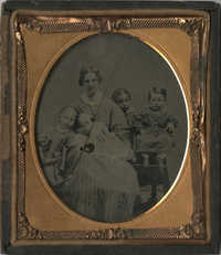 Cased Ambrotype of Woman with Four Children