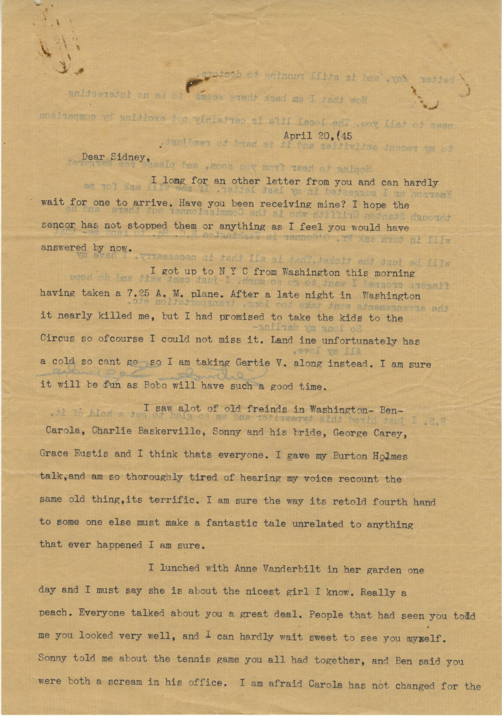 Letter 2 from Gertrude Sanford Legendre, April 20, 1945