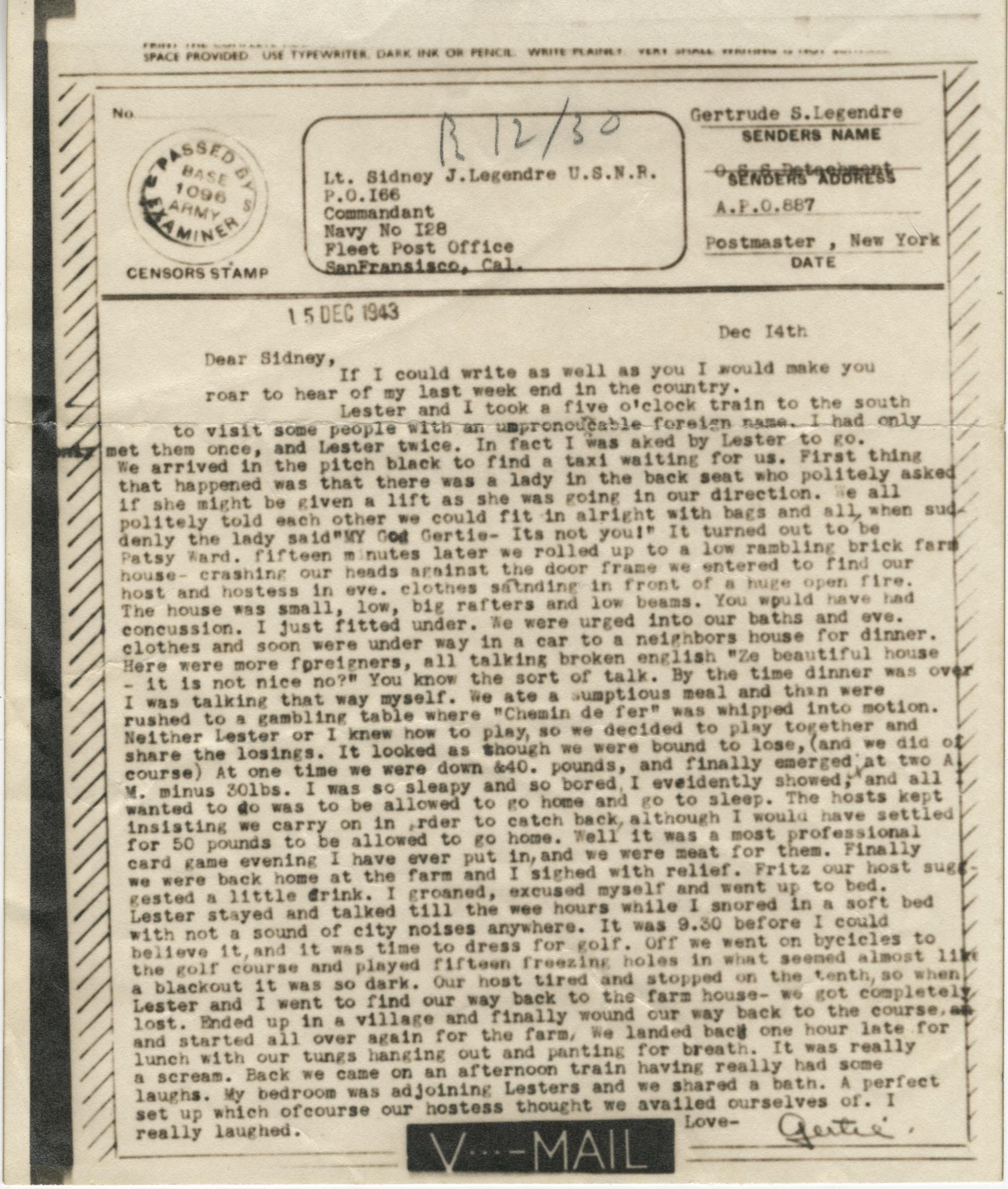 Letter from Gertrude Sanford Legendre, December 14, 1943