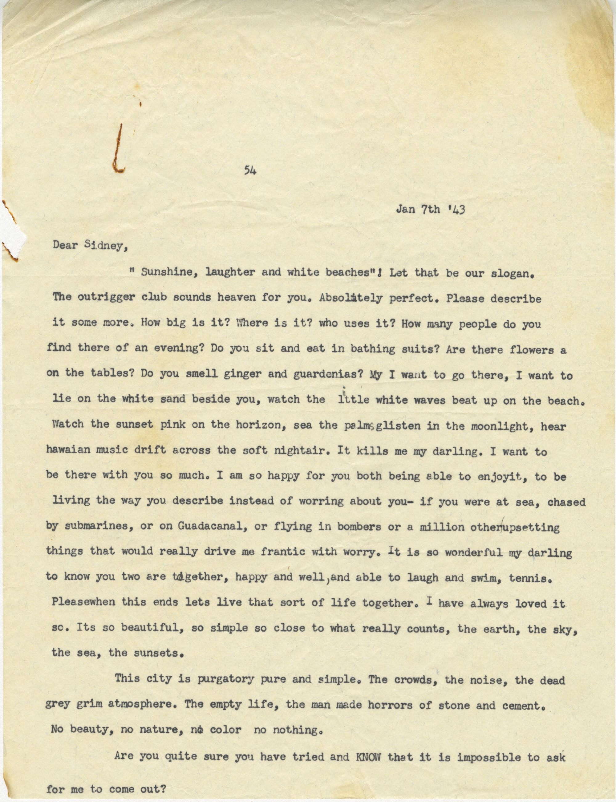 Letter from Gertrude Sanford Legendre, January 7, 1943