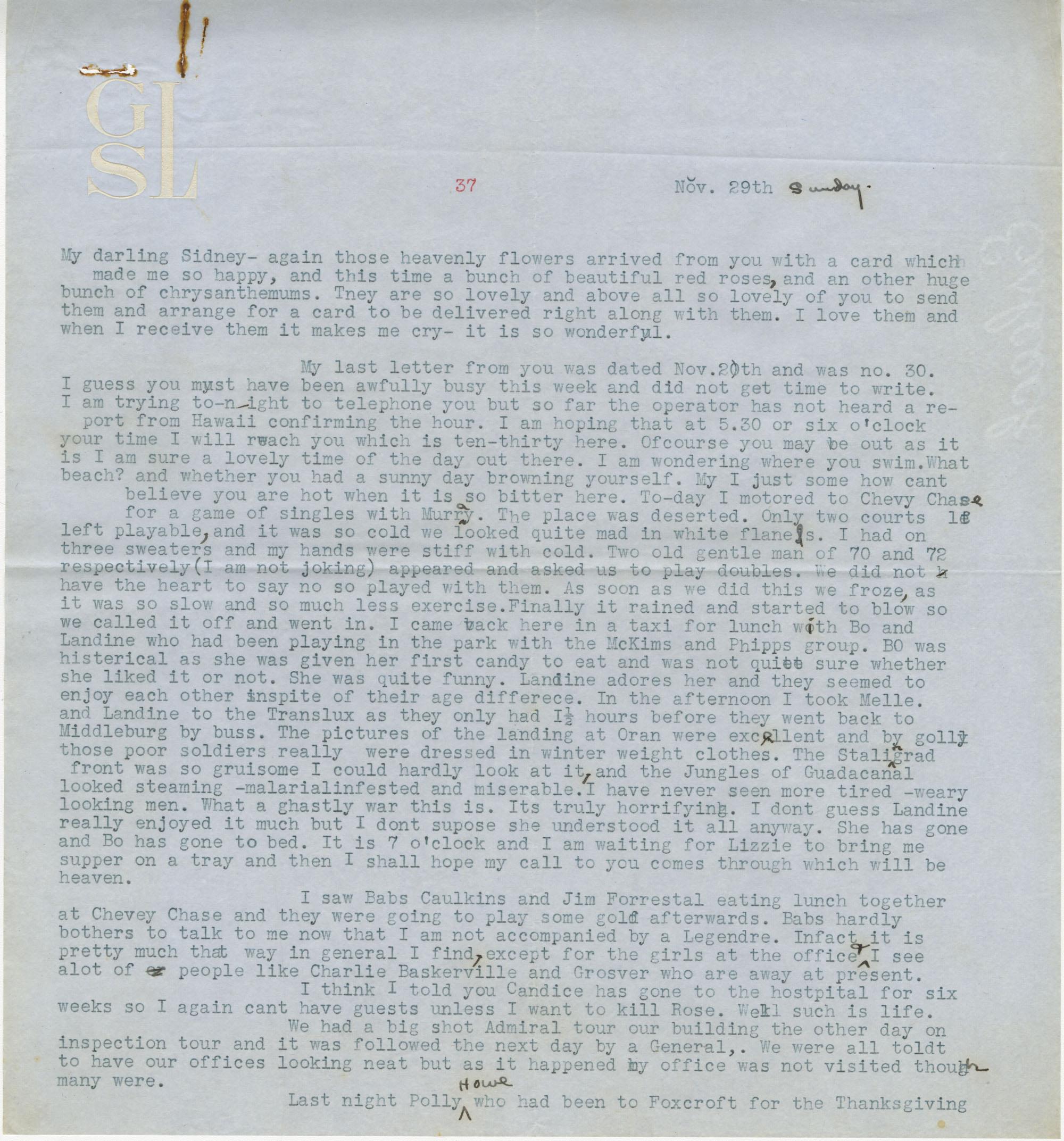 Letter from Gertrude Sanford Legendre, November 29, 1942