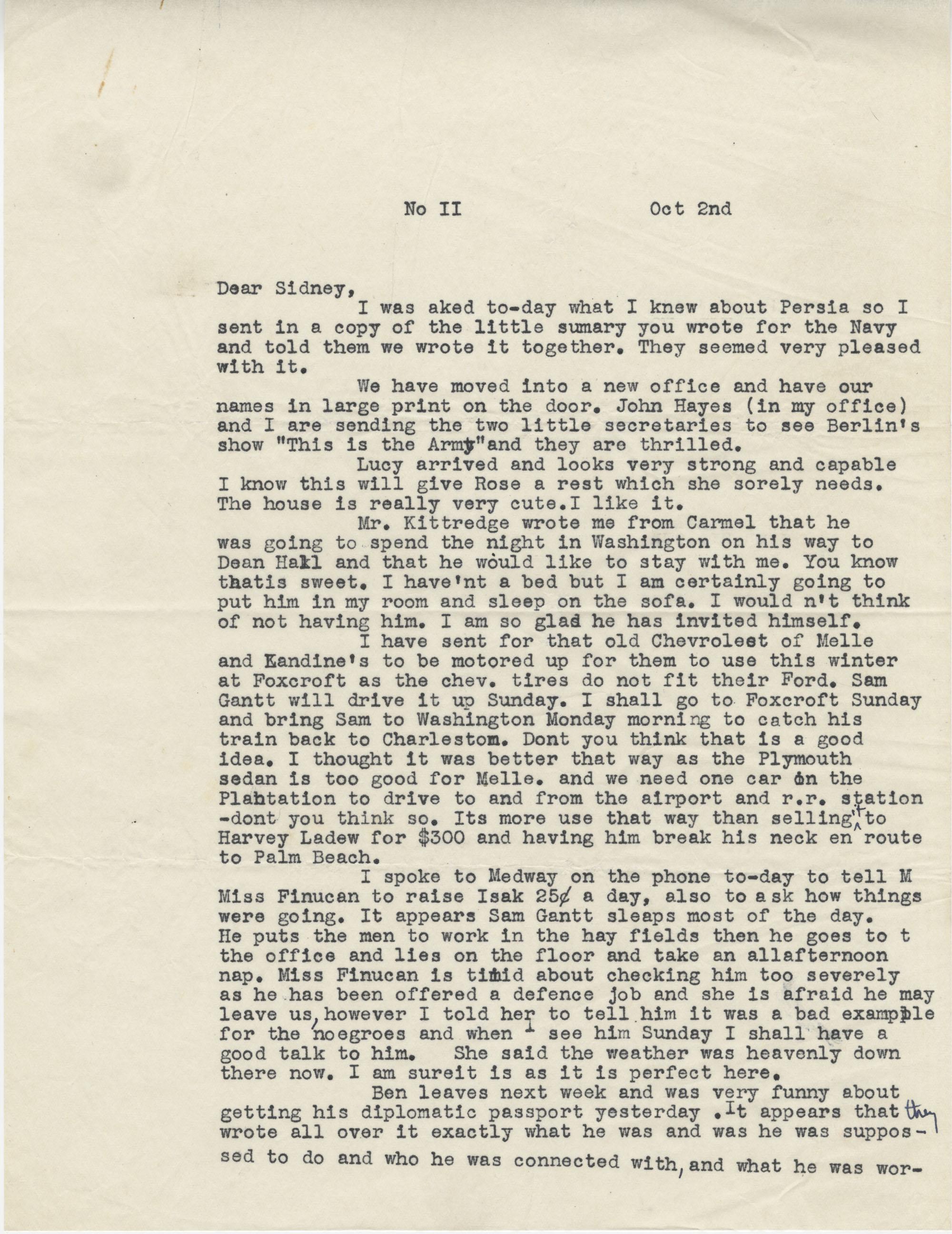 Letter from Gertrude Sanford Legendre, October 2, 1942