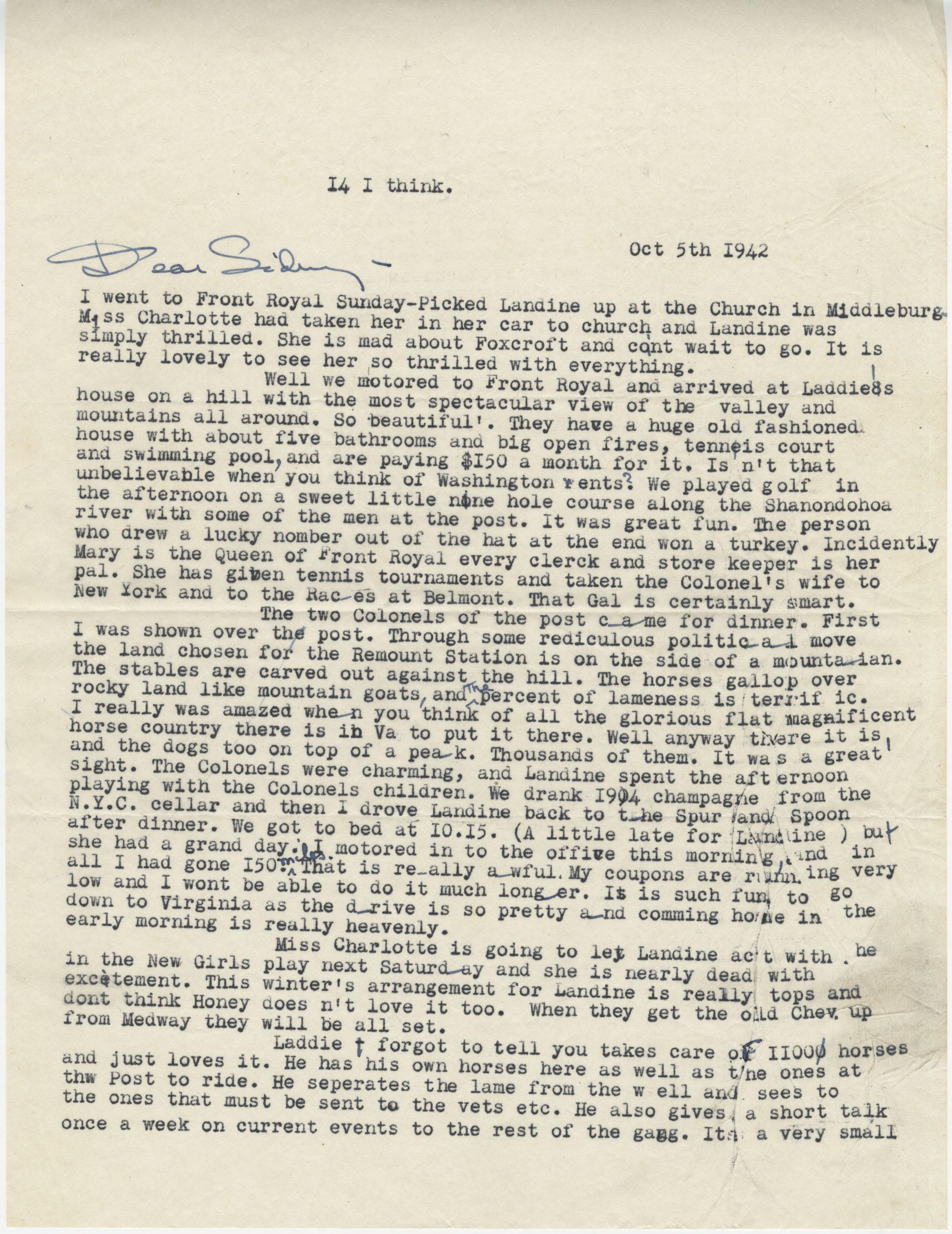 Letter from Gertrude Sanford Legendre, October 5, 1942
