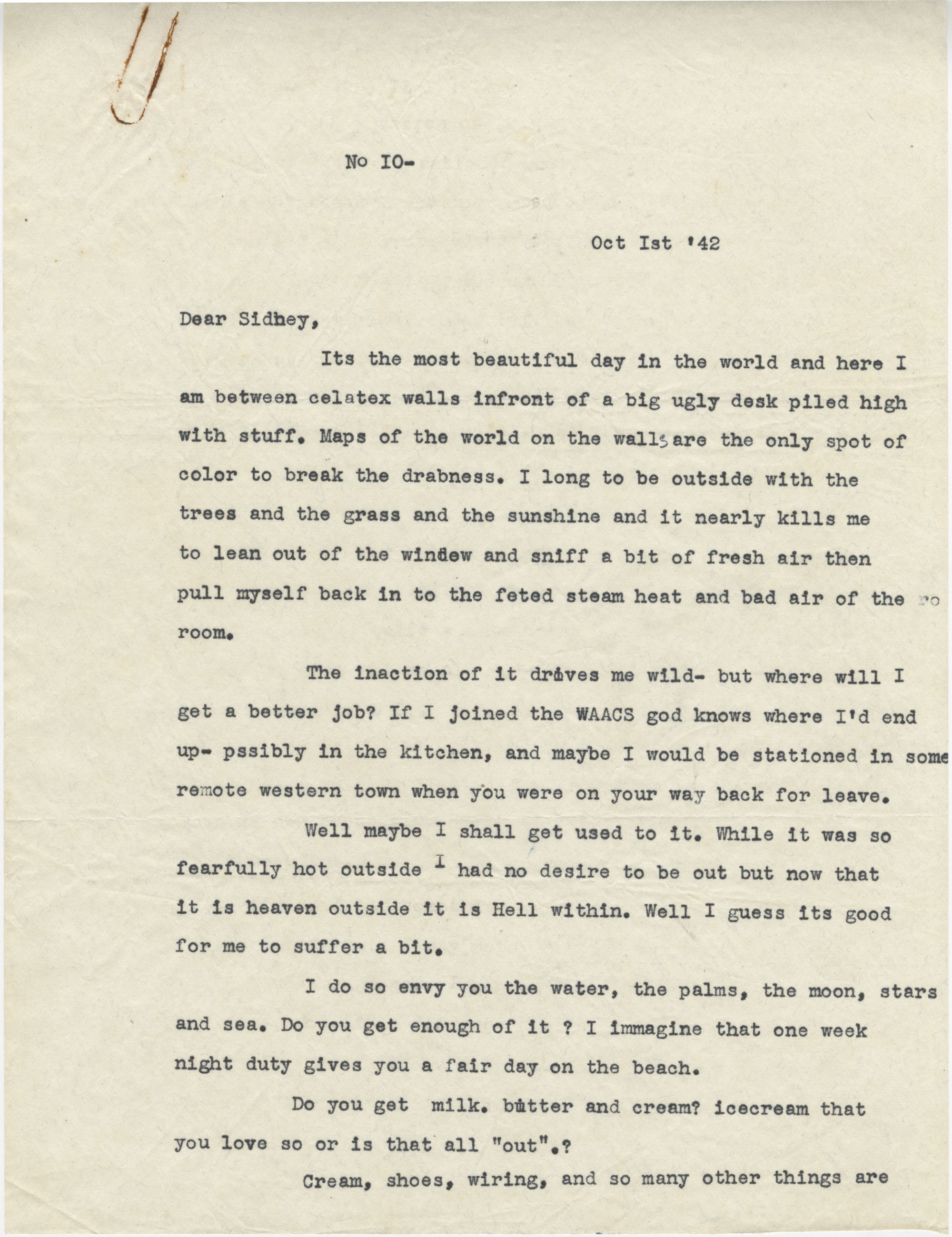 Letter from Gertrude Sanford Legendre, October 1, 1942