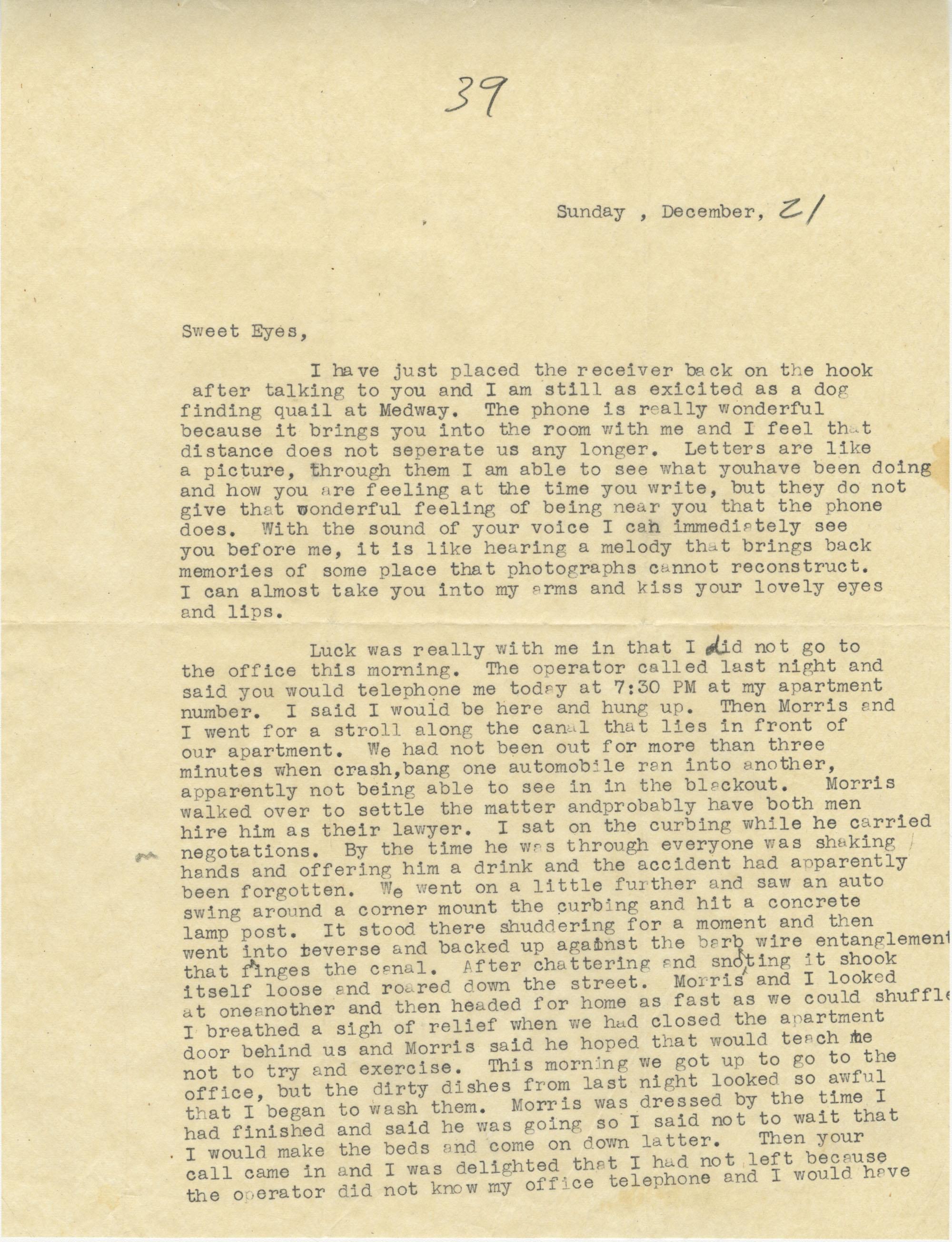 Letter from Sidney Jennings Legendre, December 21, 1942