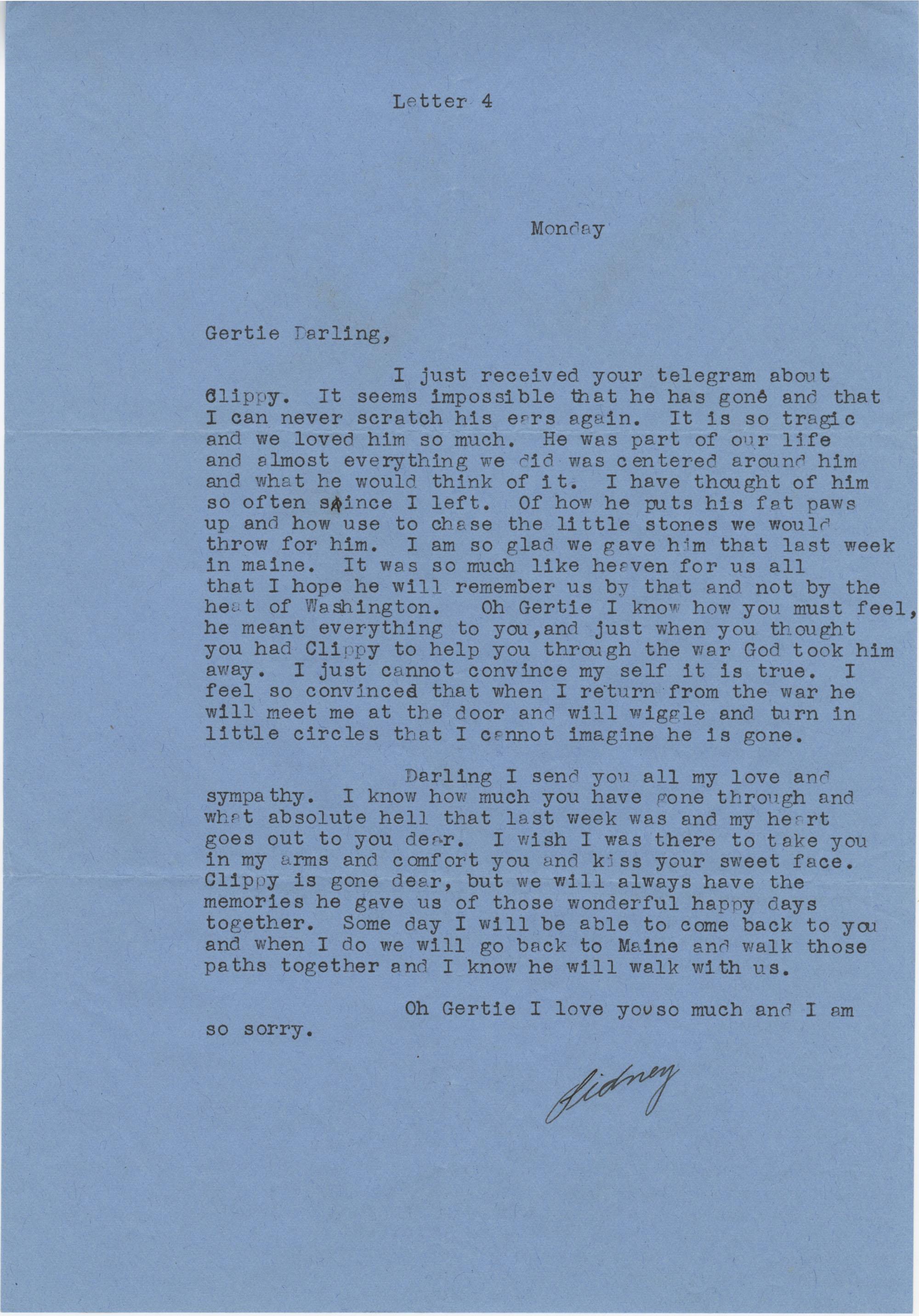 Letter from Sidney Jennings Legendre, August 17, 1942