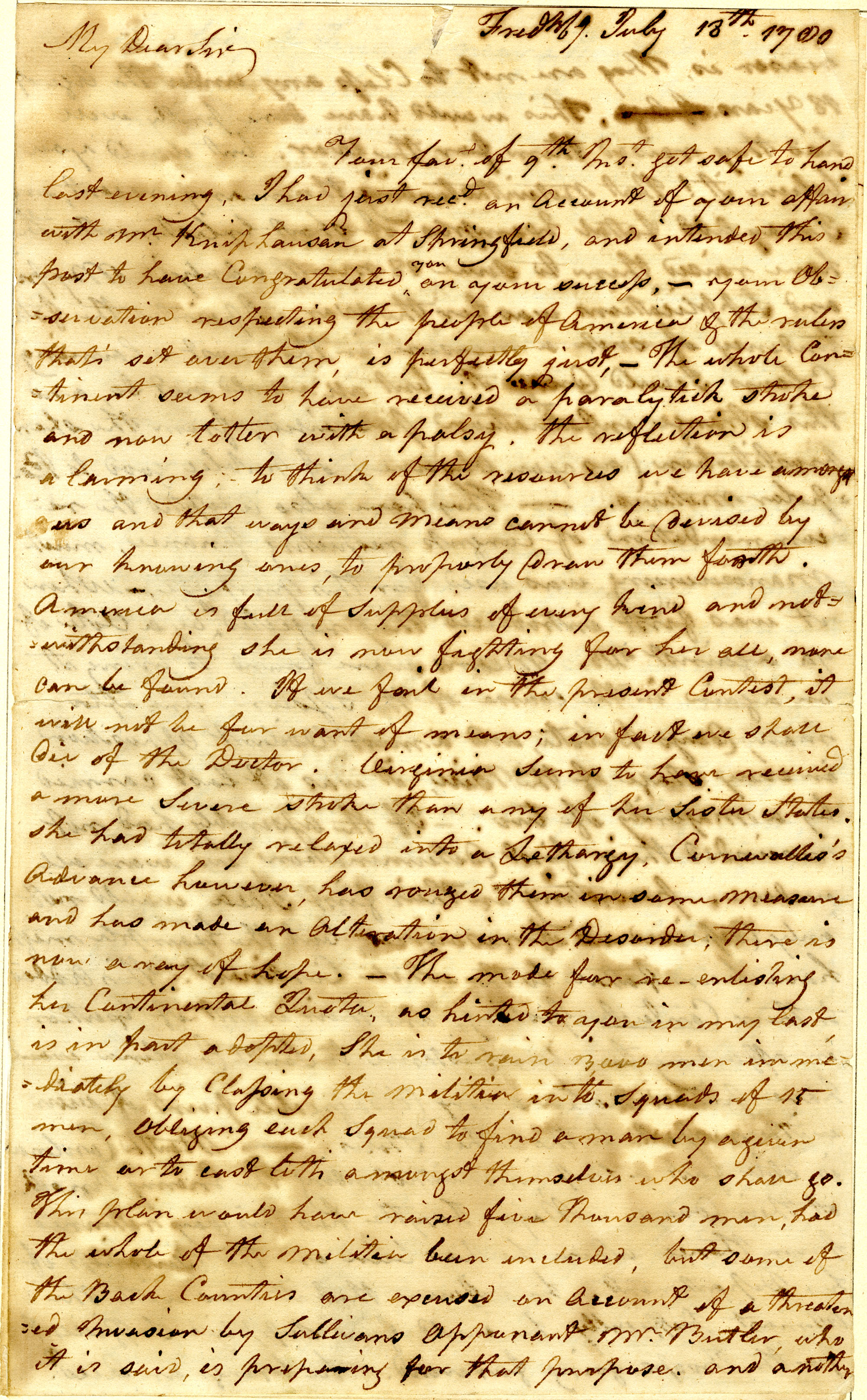 Letter from George Weedon to Nathanael Greene