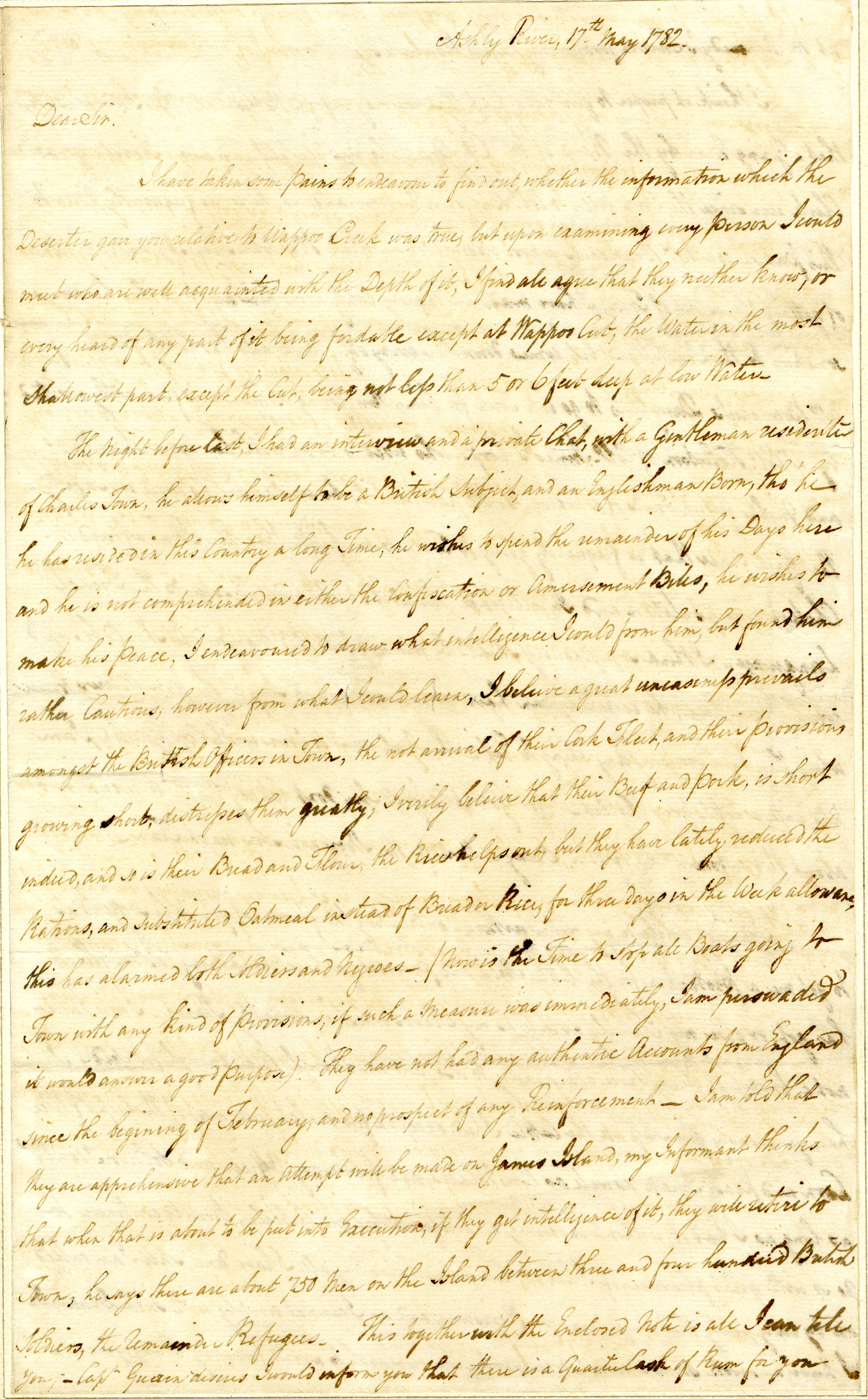 Letter from Thomas Farr to John Laurens