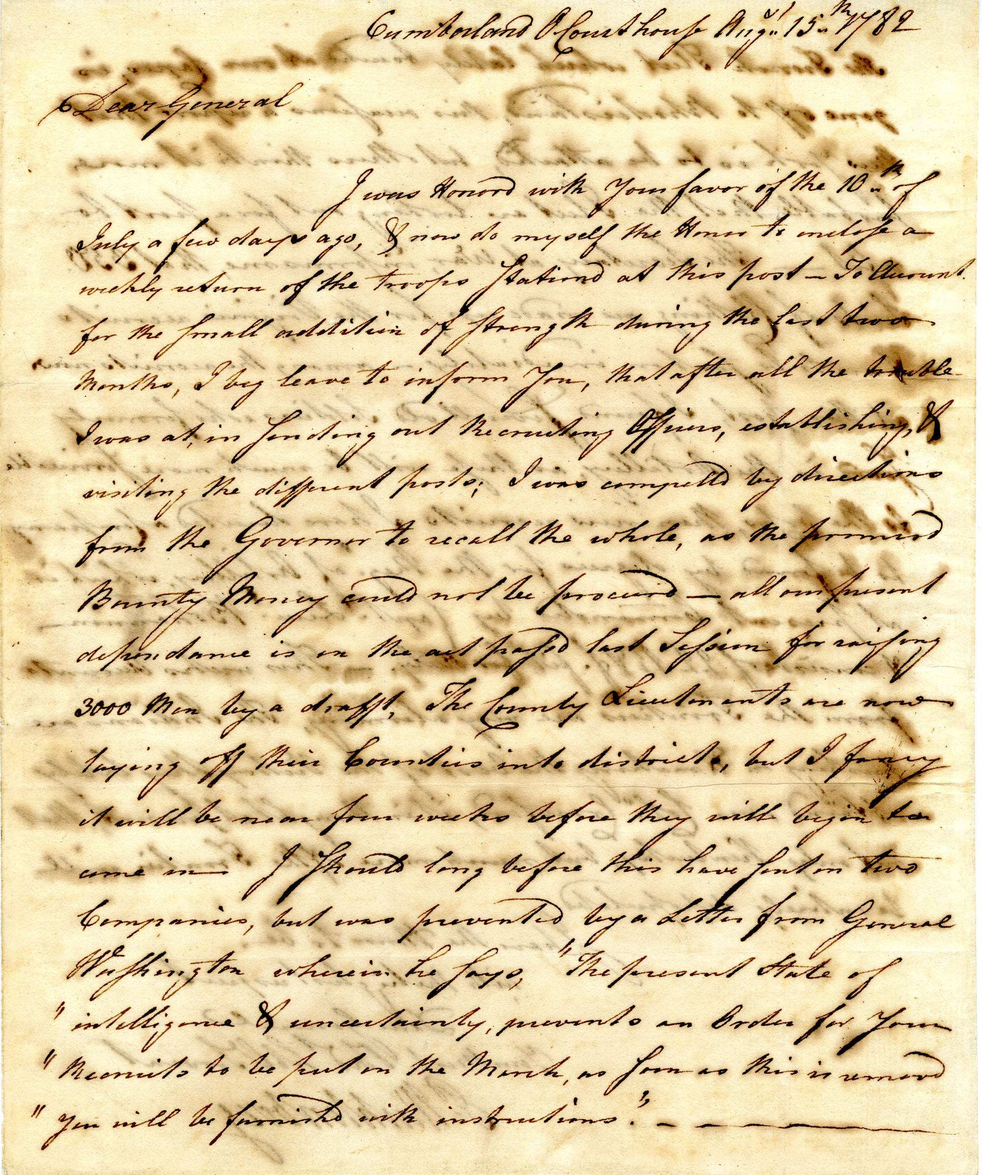 Letter from [John] Peter [Gabriel] Muhlenberg to Nathanael Green