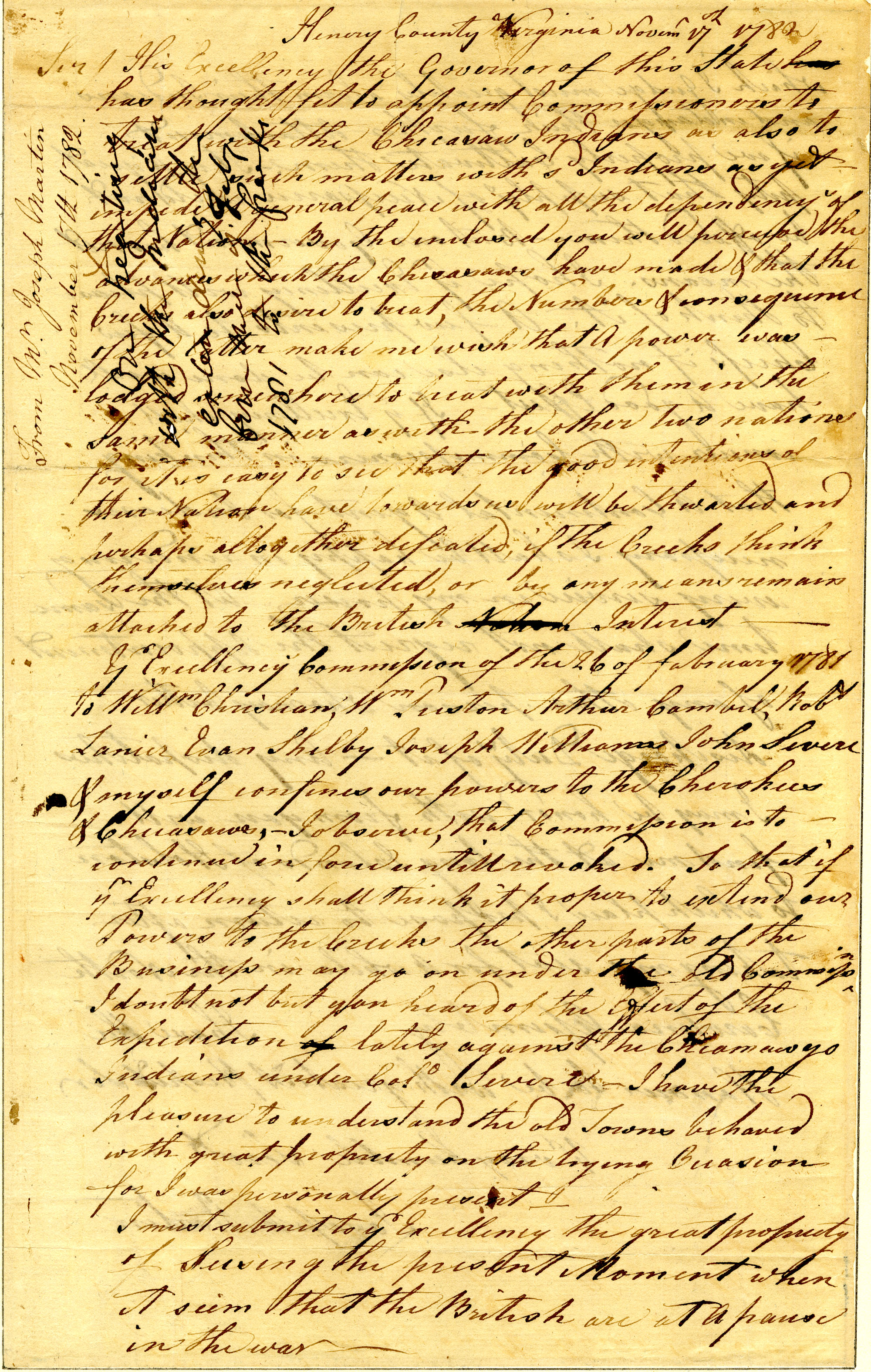 Letter from Joseph Martin to Nathanael Greene